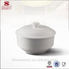 Vajilla al por mayor del restaurante usado, sopera de sopa china de la porcelana