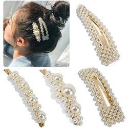 LADES 4 Pack Pearl Hair Clip Hair Accessories