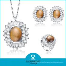 Joyería de piedra del Zircon del AAA de la plata esterlina 925 (J-0142)