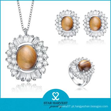 925 prata moda semi-preciosa pedra anéis e pingentes (j-0142)