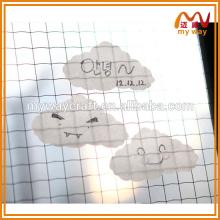 Pastilhas de notas personalizadas em forma de nuvem transparente, nota adesiva para o escritório