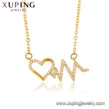 44437 Collier avec pendentif plaqué or 24 carats de bijoux populaires en forme de coeur pour femmes