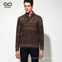 50% Lã 50% Acrílico Shawl Collar Pullover Man Knitwear
