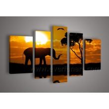 Wall Decor Handmade African Elephant Oil Painting