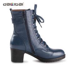 genuine leather bulk wholesale shoes women high heels chunky heel shoes