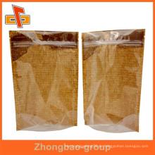 Kundenspezifische Feuchtigkeitsbeweis vorne transparente Kraftpapier wiederverschließbare Stand up Beutel Großhandel für getrocknete Lebensmittel