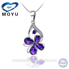 Silver Women Happiness Clover Leaf Pendentif en cristal Collier en chaîne Valentine Gift