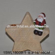 Christmas santa sitting star design ceramic candle holder