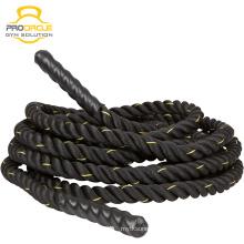 Cuerdas de batalla de entrenamiento de fitness de nylon negro