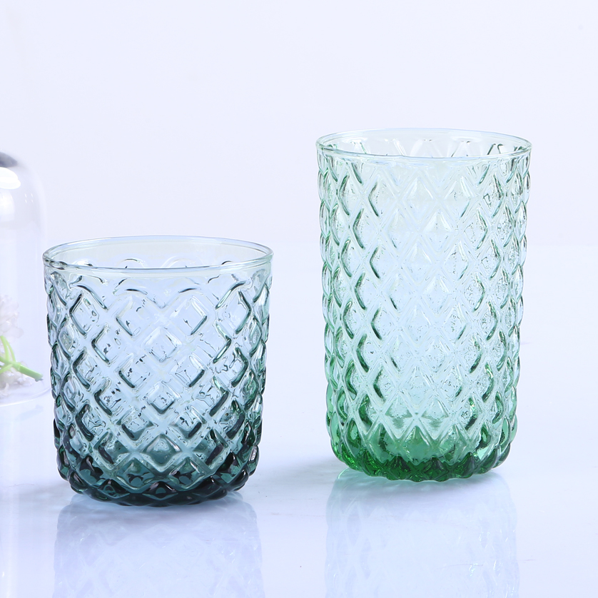 Br 9113 4factory Direct High Quality Diamond Pattern Colored Glass Cup