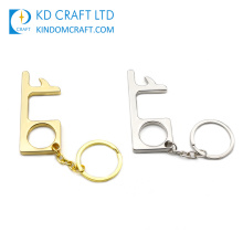 Multi-Functional Design Metal Sanitary Touchless Anti Virus Protection Hygienic Hand No Touch Free Brass Door Opener Stylus Keychain