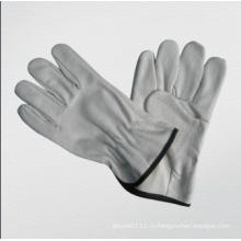 Свинья Зерно Кожа Крыло Большого Пальца Водителя Без Подкладки Перчатки-9510