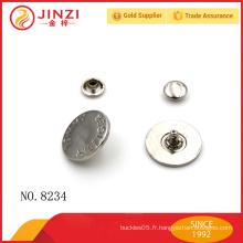 Bouton de couture en alliage de zinc de haute qualité, bouton en métal pour costume / vêtement / cuir