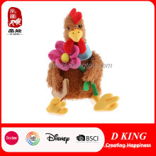 Plush Animal Stuffed Chicken Toy with Flower