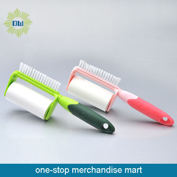 Lint roller with brush