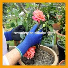 13Gauge azul poliéster guantes de látex sumergido negro arruga látex guantes de trabajo en el jardín