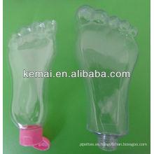 Botella plástica de la forma del pie