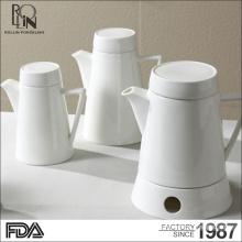Venta al por mayor precio de fábrica personalizado restaurante de hotel de estilo europeo de café de cerámica pote moderno super blanco porcelana cafetera
