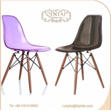 Factory price crystal plastic chair with wooden legs