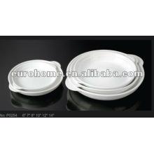 Plaques en céramique en porcelaine ronde et blanche avec poignée -guangzhou eurohome P0254