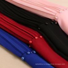 Подитожу новый мусульманских женщин головной платок Перл плиссированные шифон бисером хиджаб шарф