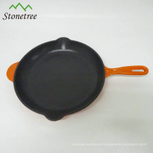 Square enamel coating cast iron paella/frying pan
