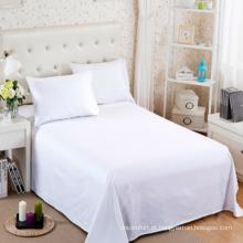 Folha de cama lisa 200TC do hotel do algodão