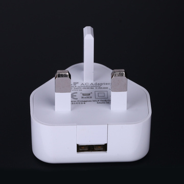 Europe style for for Dual Usb Charger 5V1A UK 3 pin single output USB charger supply to Spain Manufacturers