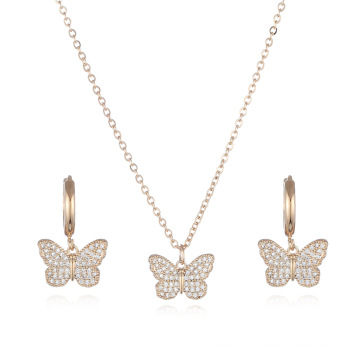 Charm wholesale trendy earrings and necklace diamond stainless steel butterfly jewelry sets
