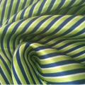 Tecido de cetim listrado 100% poliéster estampado em verde para vestido