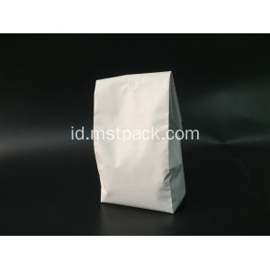 White Matte Plastic Quad Seal Bag