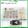 2015 getbetterlife Sparkle temporaire paillettes tatouage Kit 20 couleurs 30 pcs Kits de tatouage tatouage pochoir paillettes diamant