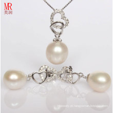 Forma de coração pingente de pérolas de água doce de prata, brincos set