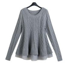 2016 Organza Splicing Knit Pullover Sweater