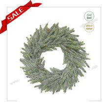 Corona artificial del jardín al por mayor de la promoción con nieve H30-H48cm