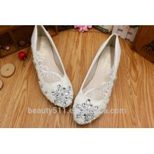 La dentelle est basse avec des robes de demoiselle d'honneur et des chaussures de mariage blanches faites à la main confortables WS034