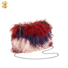 Latest Design Mixed Color Mongolian Sheep Fur Sling Bag Shoulder Bag For Lady
