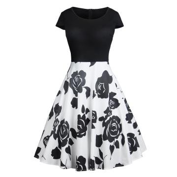 Waist Large Print Women Prom Midi Dresses Elegant