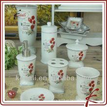2015 caliente moderno decorativo cerámica porcelana baño accesorio conjunto