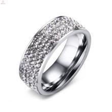 Neue Edelstahl Weiß Crystal Zirkon Gepflasterte Ringe