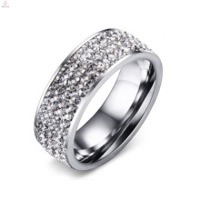 Nouveaux anneaux pavés de zircon blanc en acier inoxydable