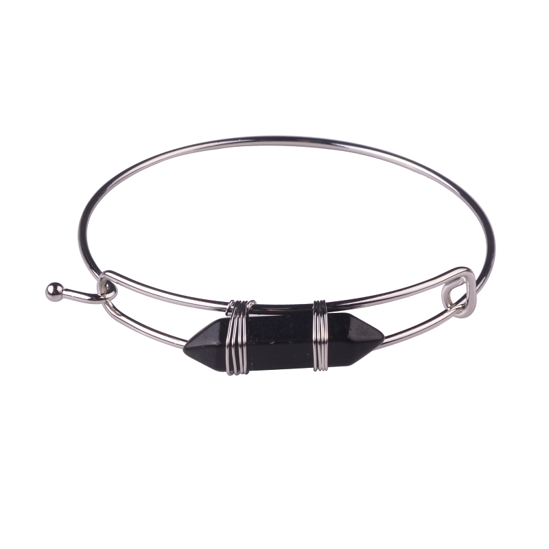 Beauty Hexagonal Prism Natural Black Onyx Stone Jewelry Bangle