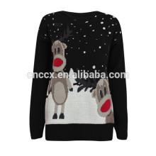 15CS0002 Rentiermuster Weihnachts Pullover Pullover mit LED-Leuchten