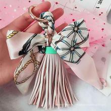 Silk Ribbon Bow Tassel Bag Pendant Charm Leather Keyring Keychain for Women Purse Handbag Decoration