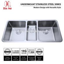 Горячая в amercia купч раковина кухни нержавеющей стали с тройной чаша