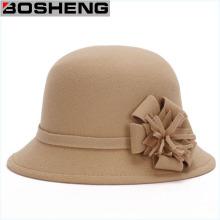 Mulheres, lã, jogador, cloche, feltro, balde, chapéu, flor