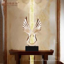 Personaliza escultura de ala de ágata de resina 3D para decoração de interiores