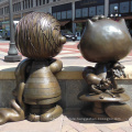 outdoor garden decoration metal craft bronze snoopy sculpture