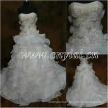JJ2862 Vestido nupcial blanco moldeado del bordado del vestido de bola 2013