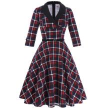 Belle Poque retro cosecha patrón de 3/4 de manga de cuello de solapa de algodón swing partido de picnic vestido BP000259-1